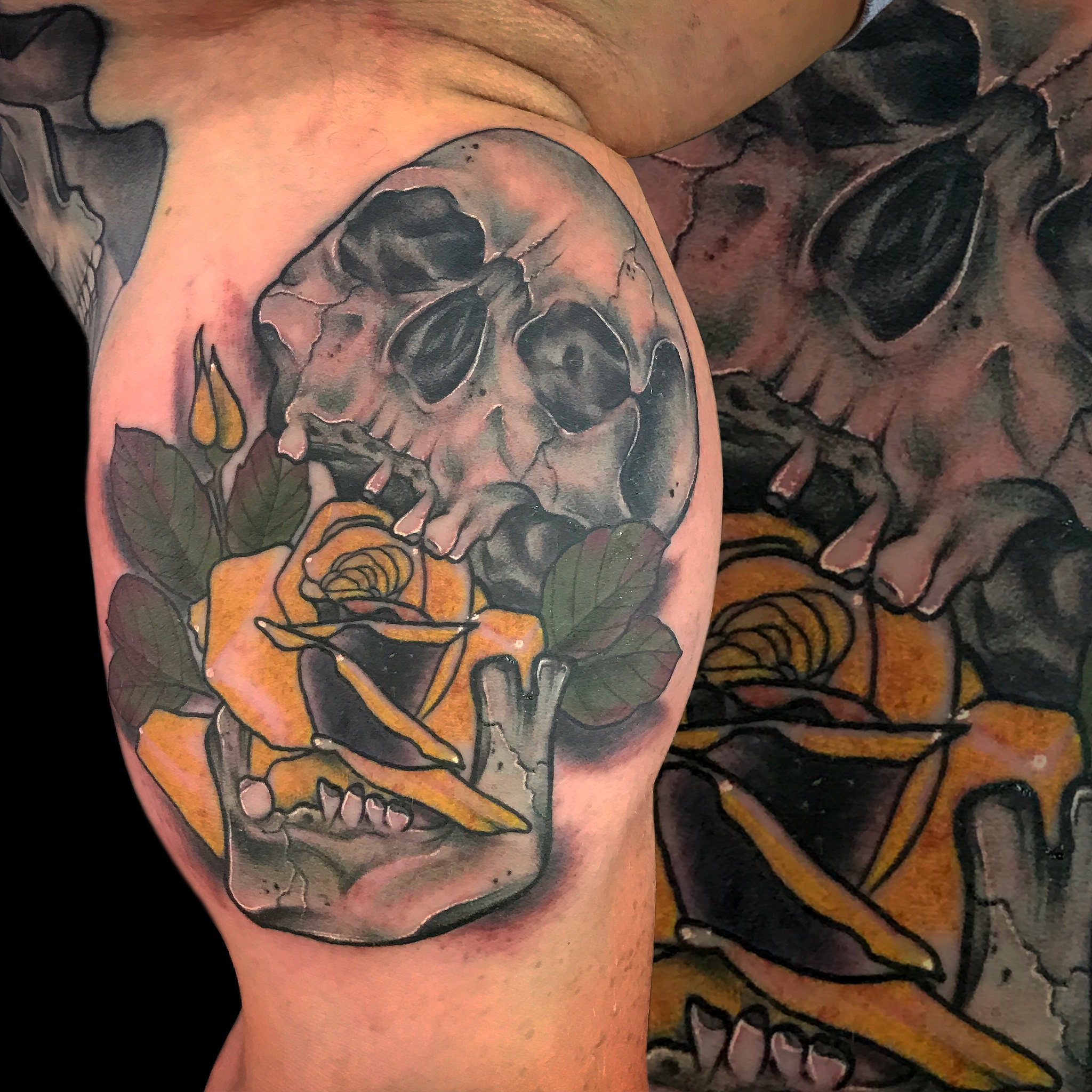 Neotraditional Skull Rose Tattoo